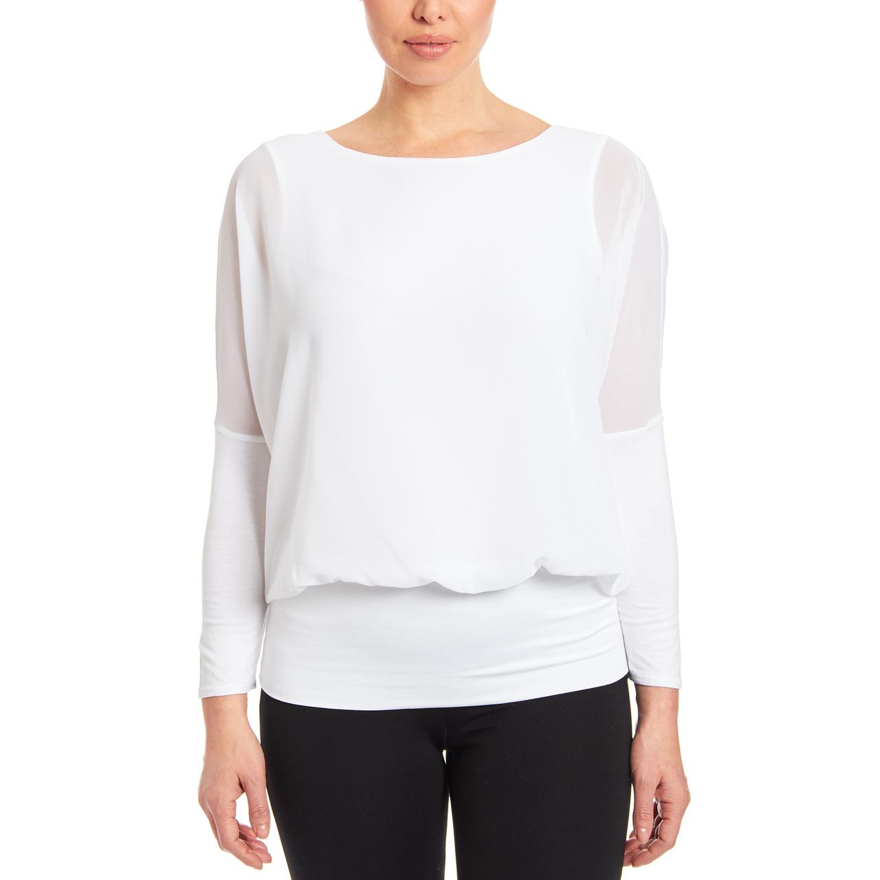 Dolman Long Sleeve Blouse in White