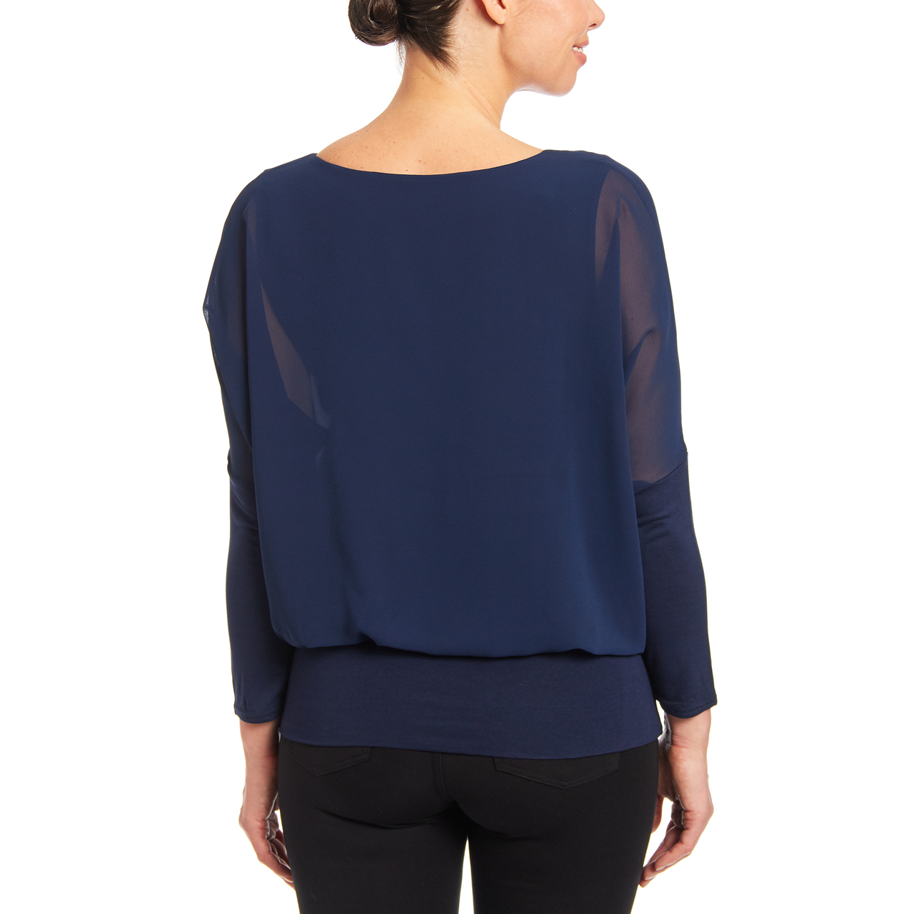Dolman Long Sleeve Blouse in Navy Yard