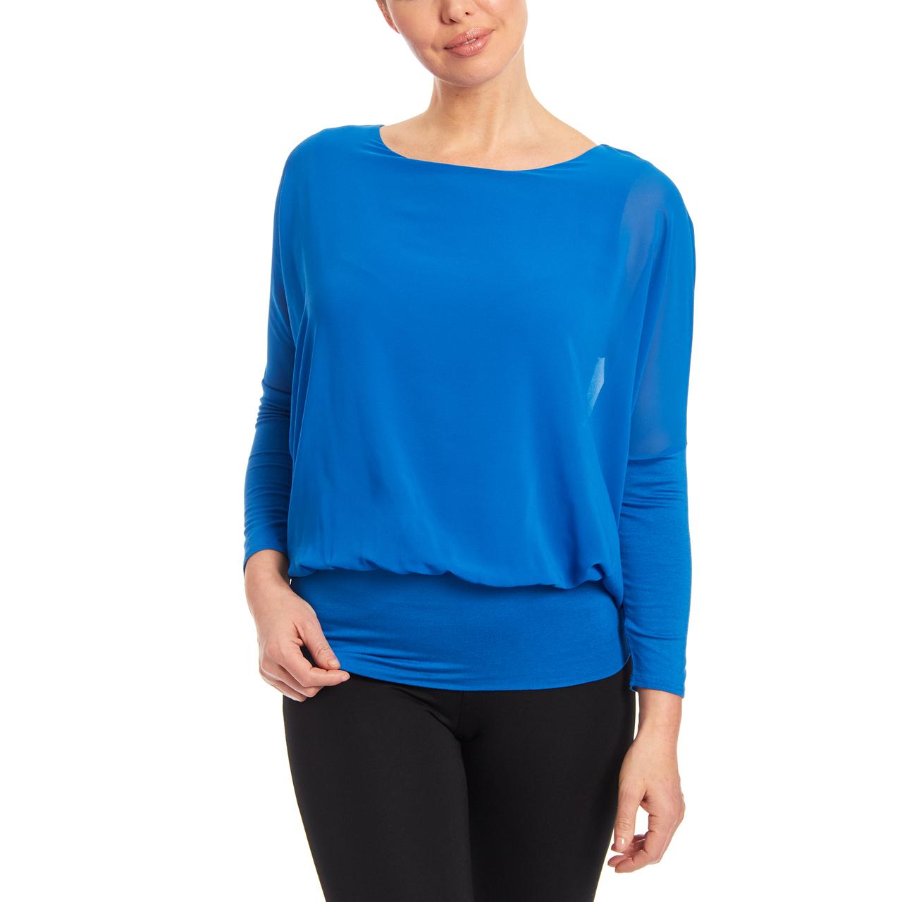 Dolman Long Sleeve Blouse in Malibu Blue