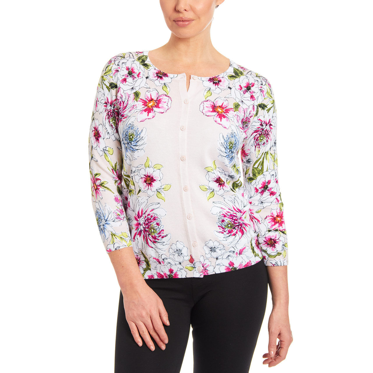 Classic Button-up Cardigan Bohemian Flowers