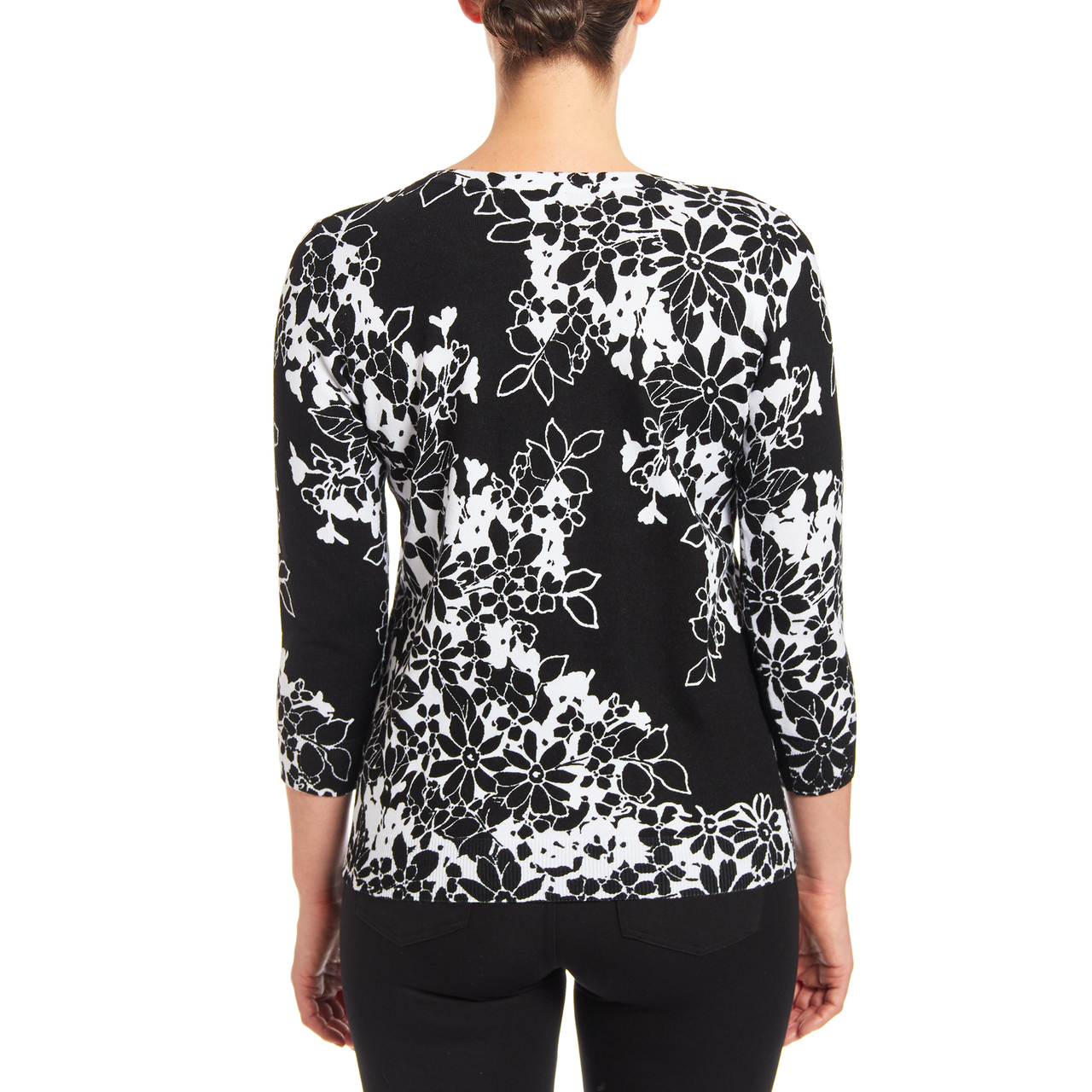 Floral Button-up Cardigan in Daisy Drama Black