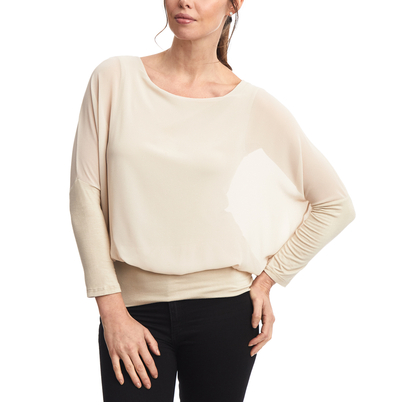 Dolman Long Sleeve Chiffon Top with Banded Knit Bottom in New Khaki