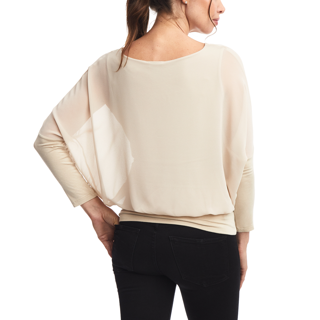 New Khaki Dolman Sleeve Chiffon Top with Banded Knit Bottom