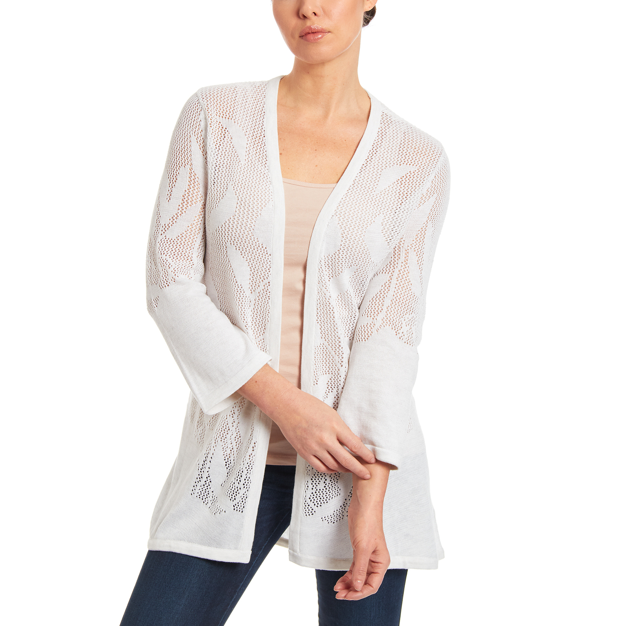 Open Stitch Duster Cardigan in White