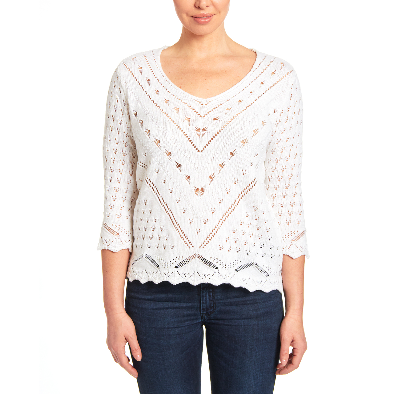 V-neck Open Stitch Knit Sweater in White