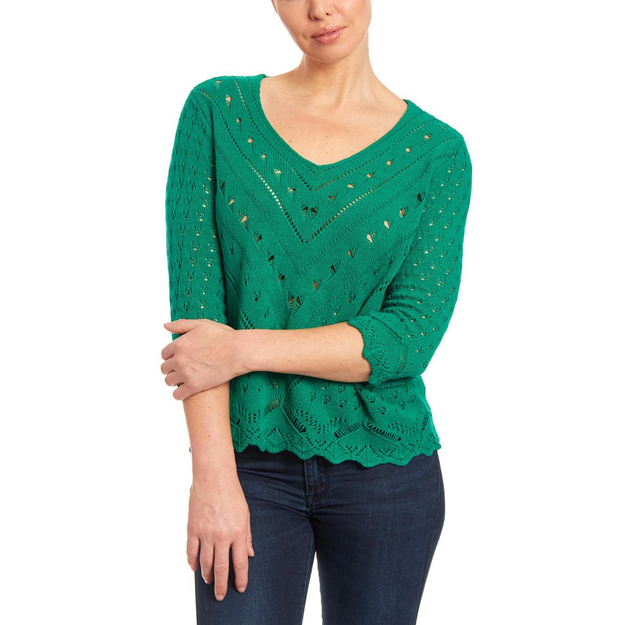 V-neck Open Stitch Knit Sweater in Juniper