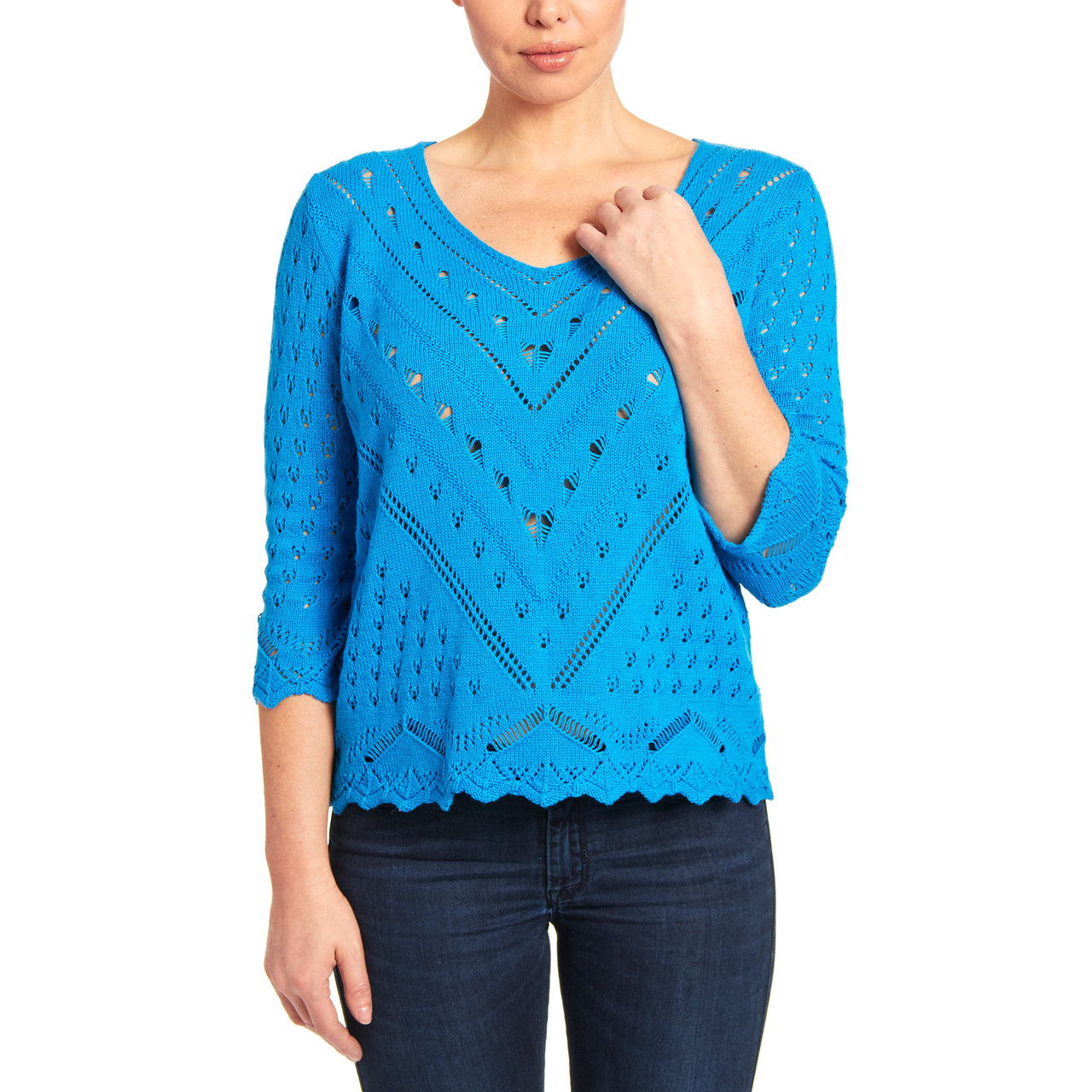 V-neck Open Stitch Knit Sweater in Santorini