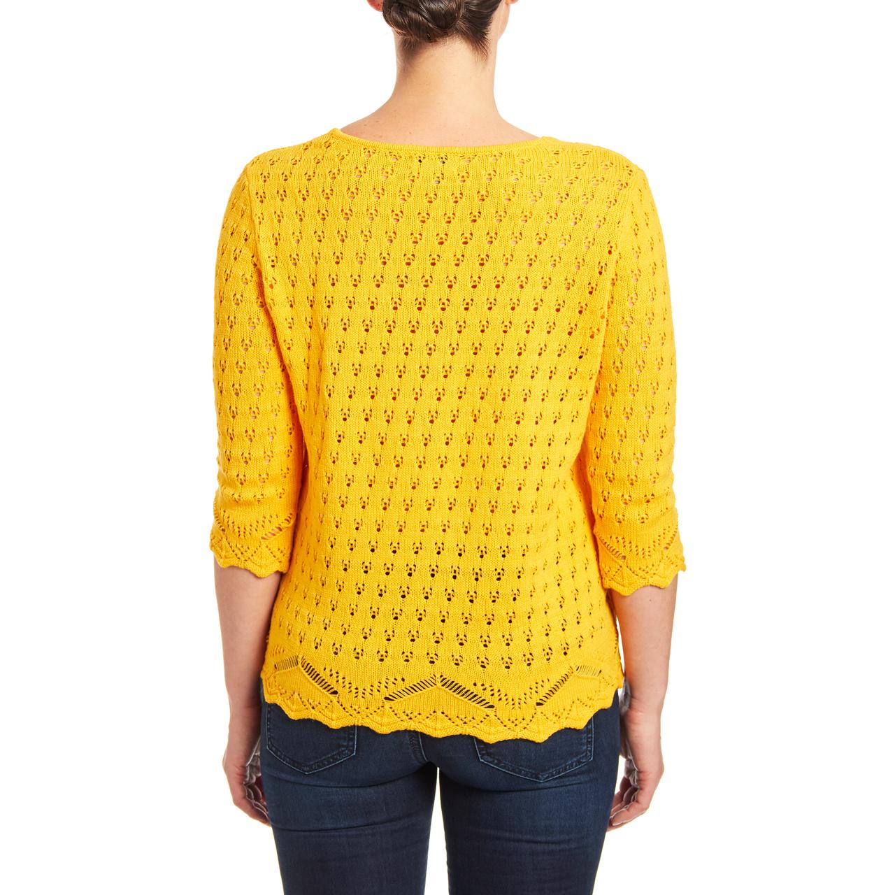 V-neck Open Stitch Knit Sweater in Daffodil