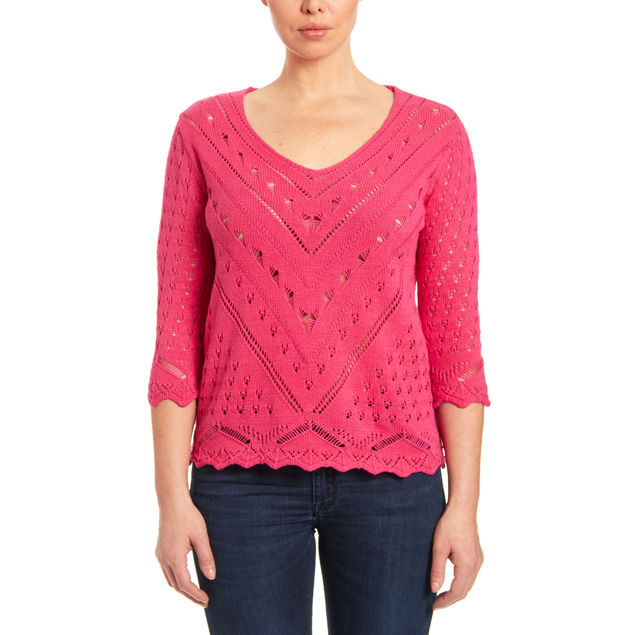 V-Neck Open Stitch Knit Sweater in Daiquiri