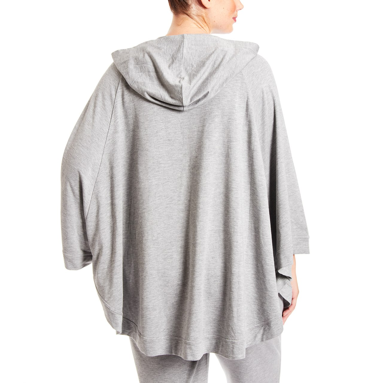 Curvy Hooded Poncho With Pocket In Heather Grey