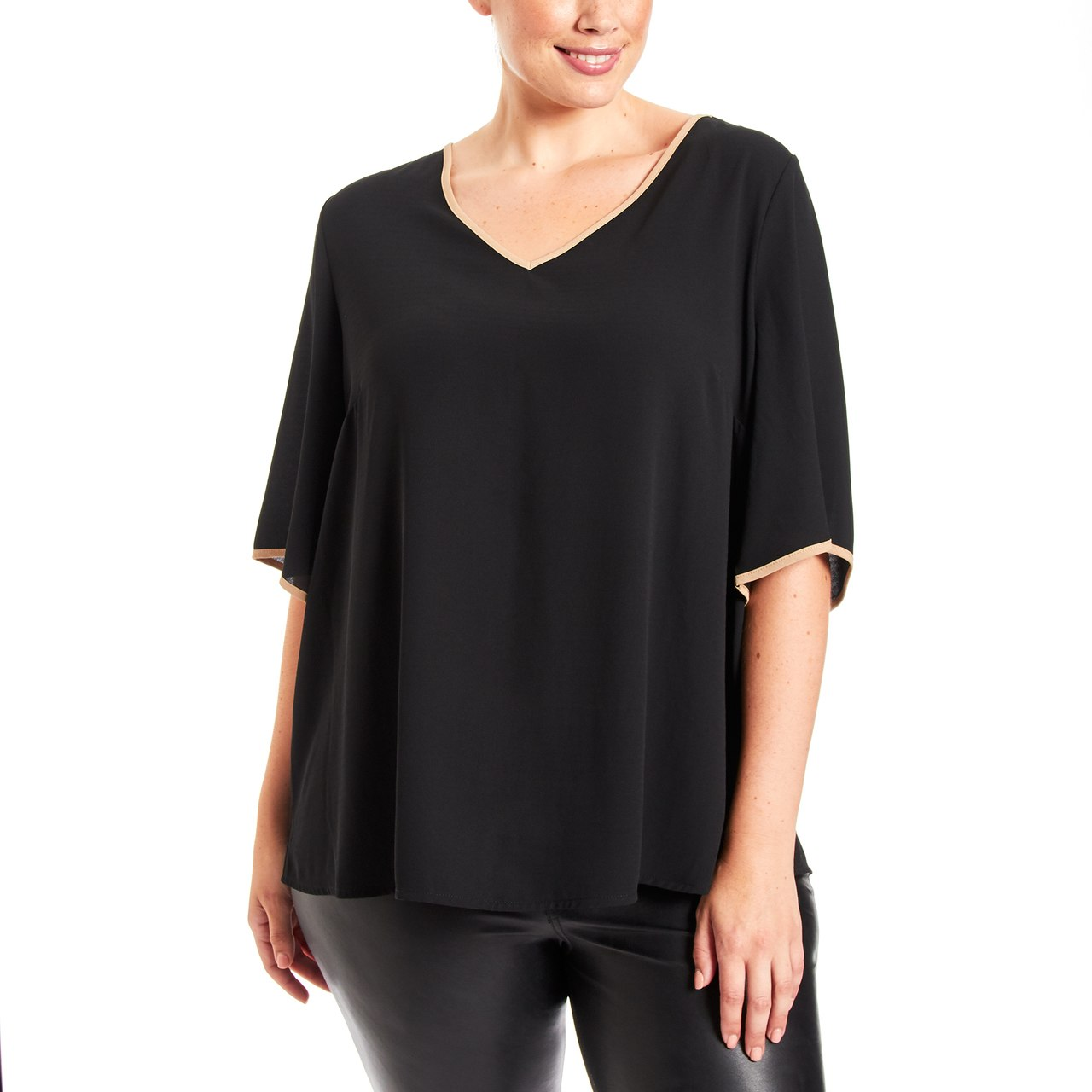 Curvy Tie Back Top With Contrast Trim In Black