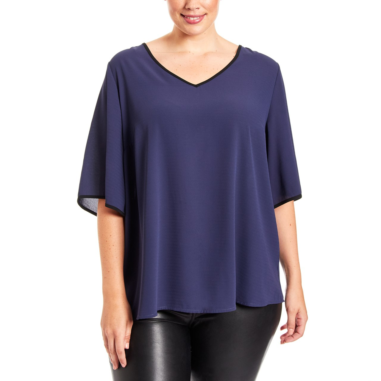 Curvy Tie Back Top With Contrast Trim In Navy