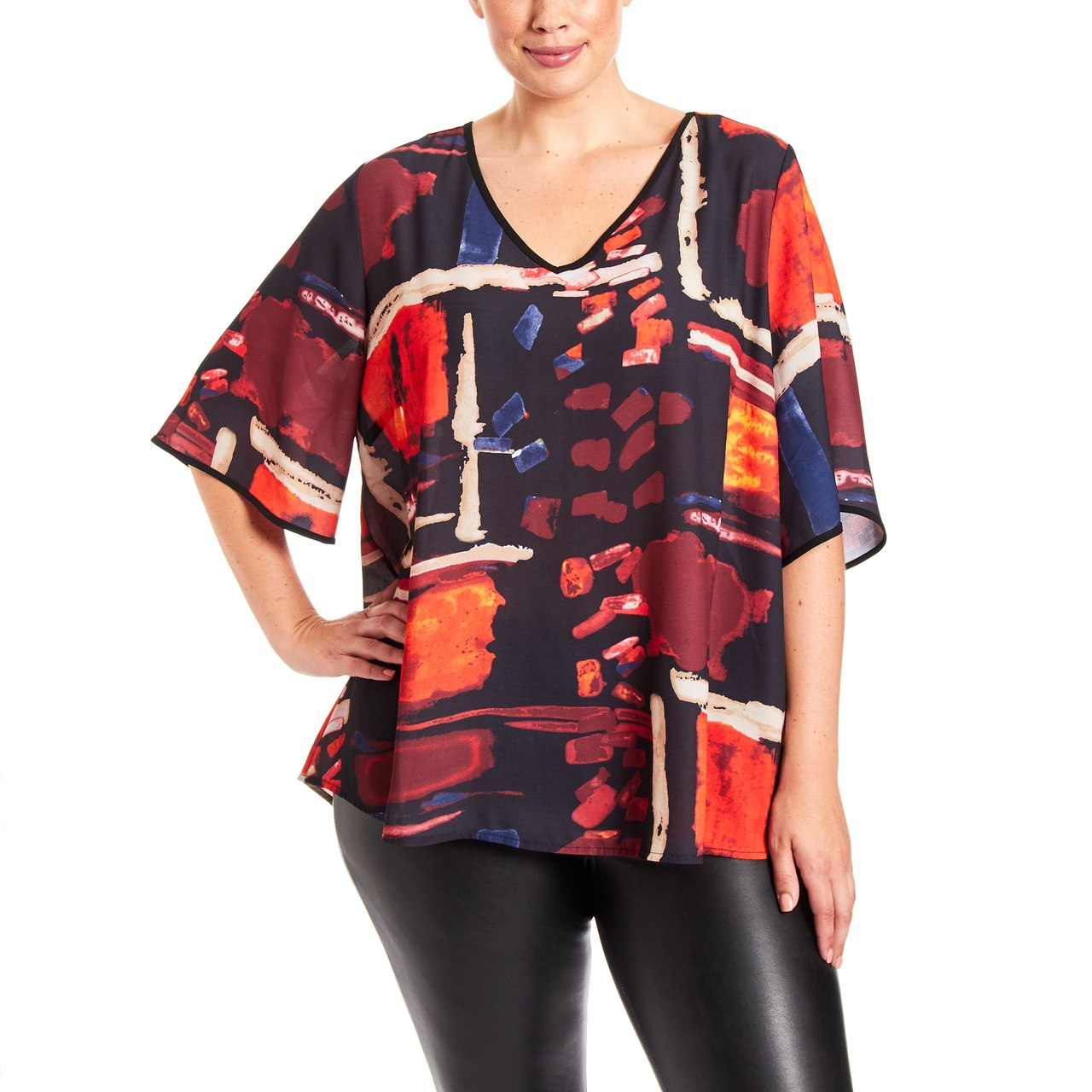 Curvy Abstract Print Top With Tie Back