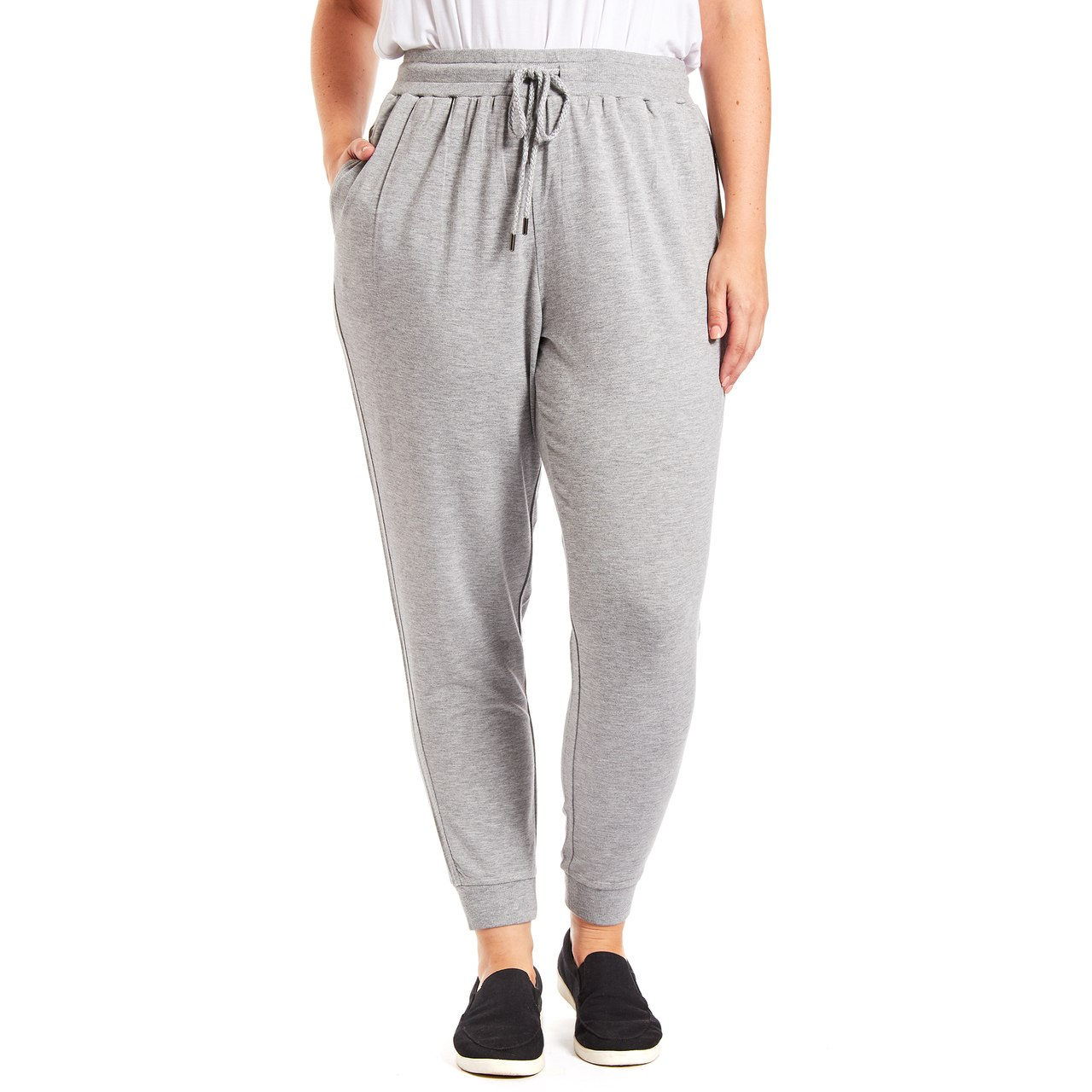 Curvy Drawstring Jogger Pant In Heather Grey