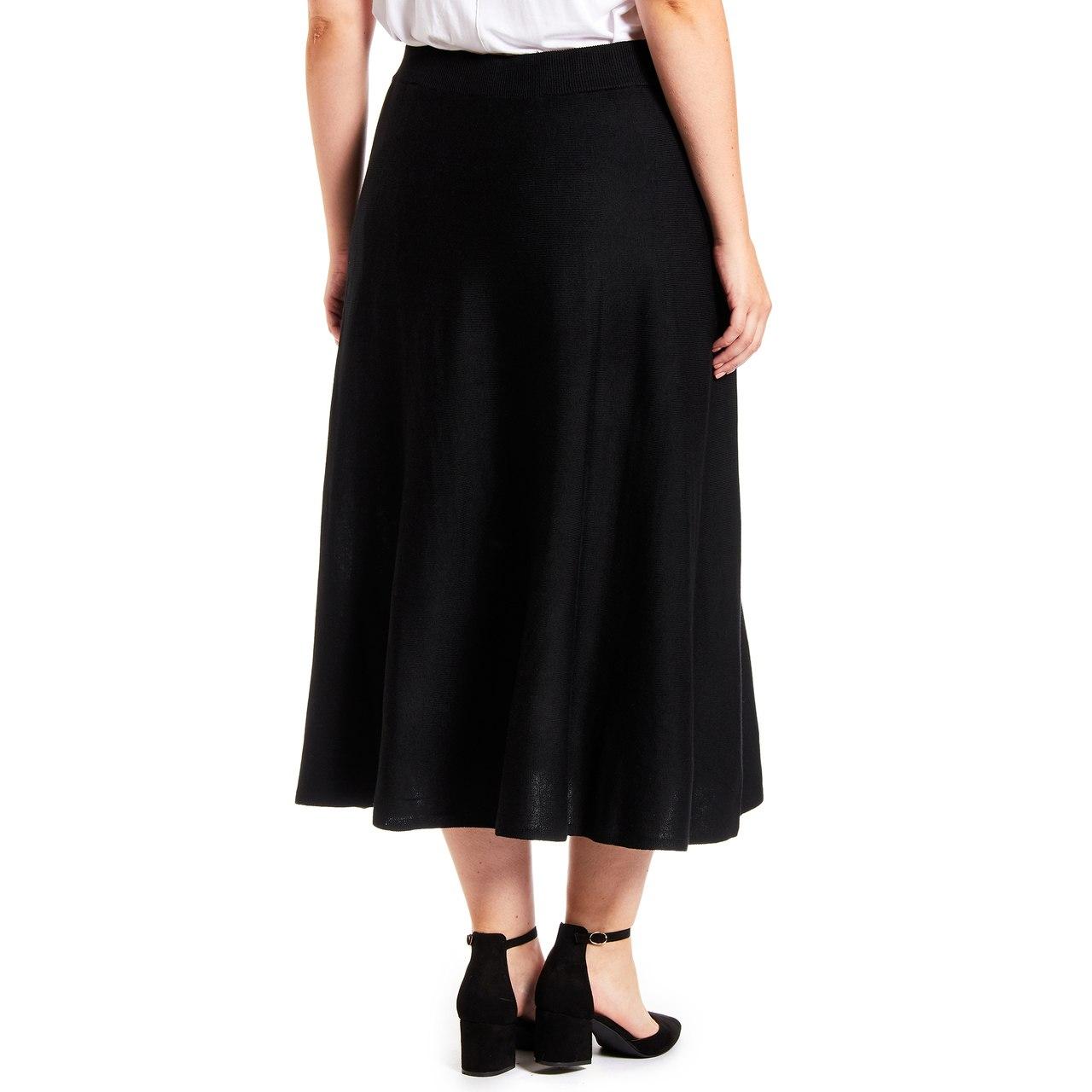 Curvy Boot Cut Sweater Skirt in Black