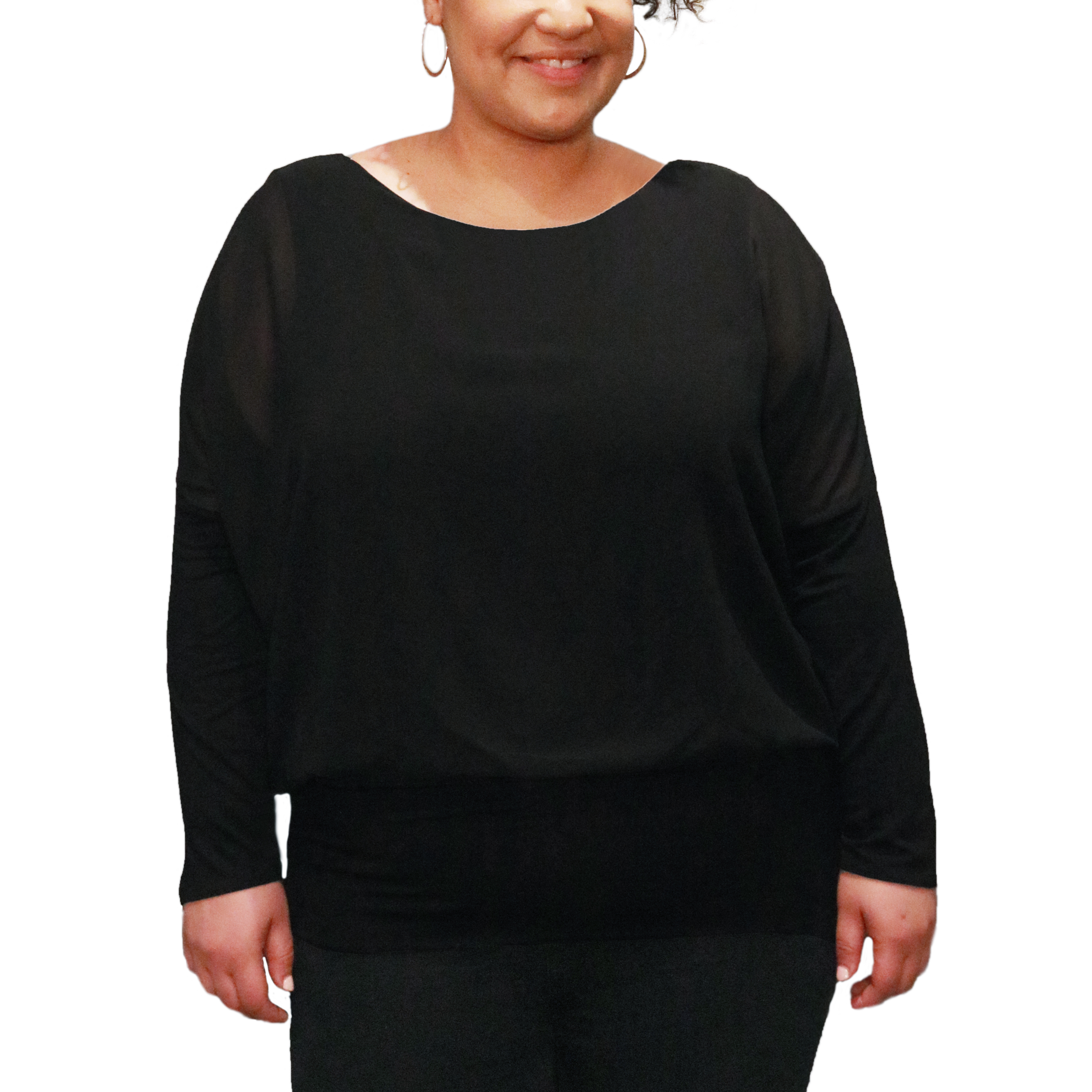 Dolman Long Sleeve Blouse in Black