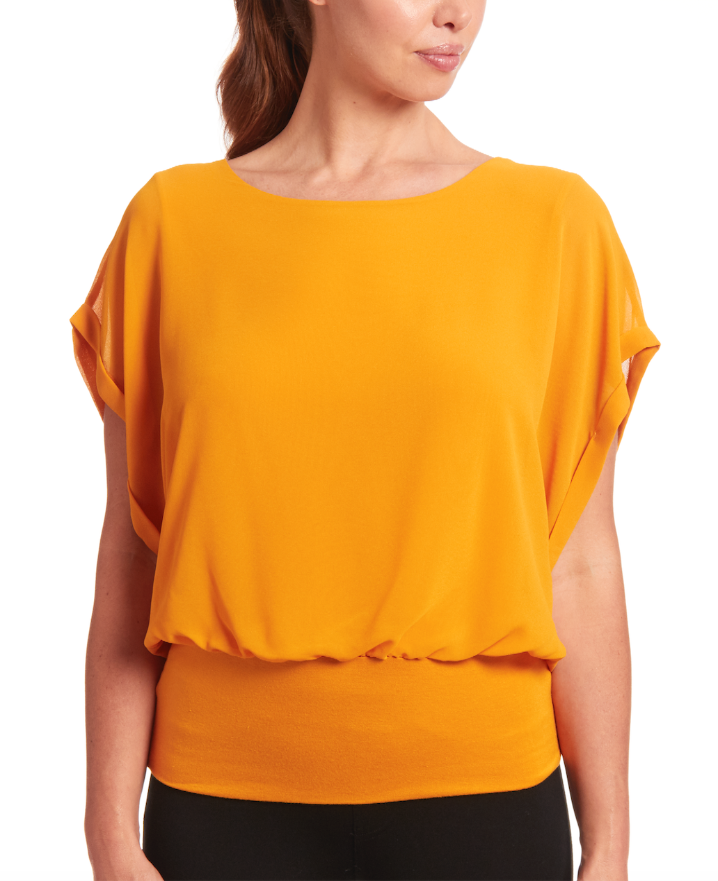 Dolman Short Sleeve Blouse in Saffron