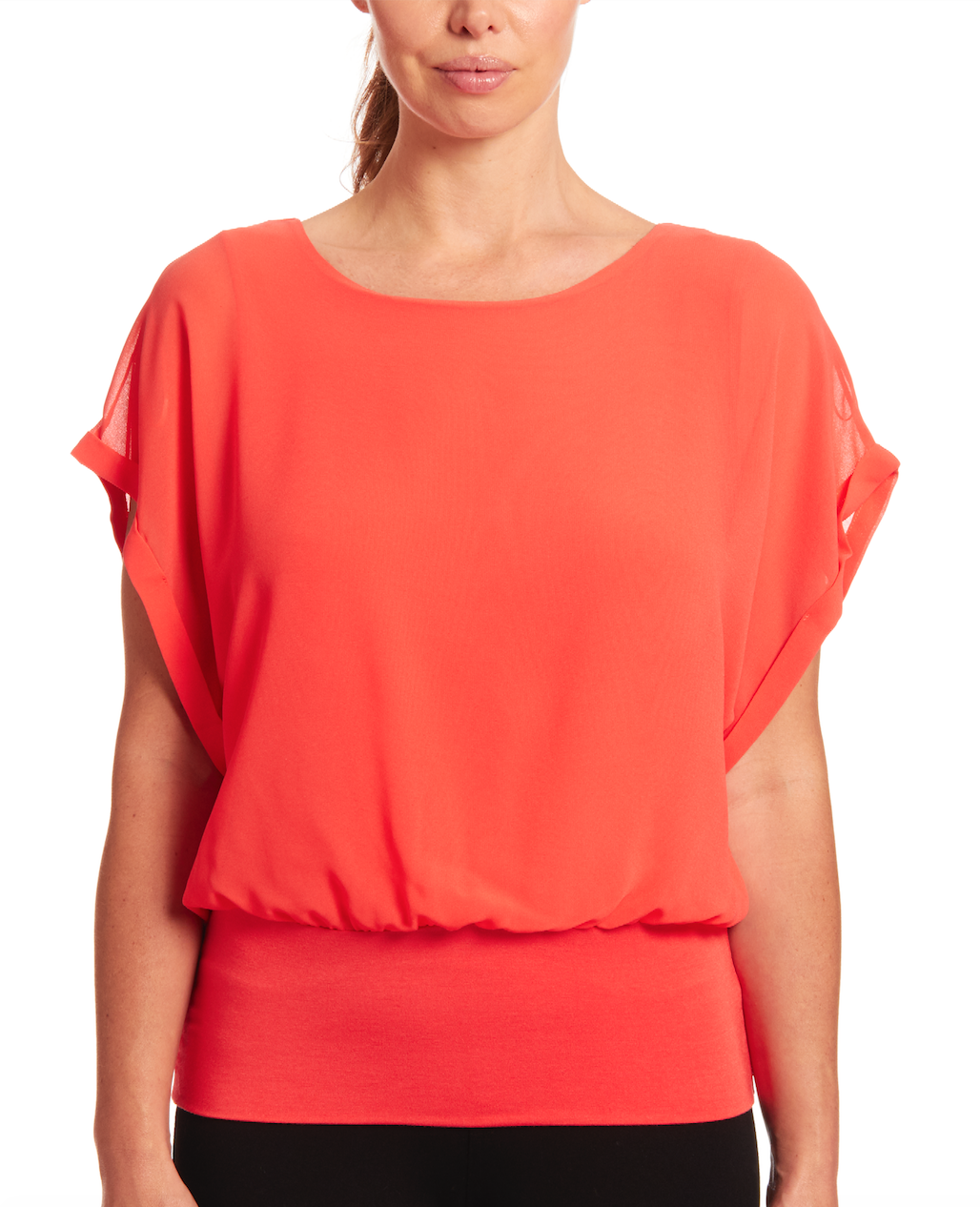 Dolman Short Sleeve Blouse in Coral Reef