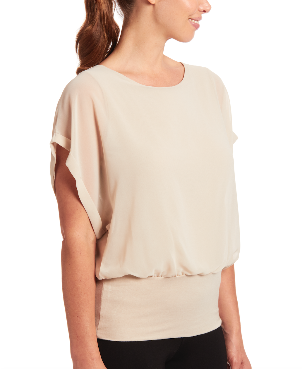 Dolman Short Sleeve Blouse in New Khaki