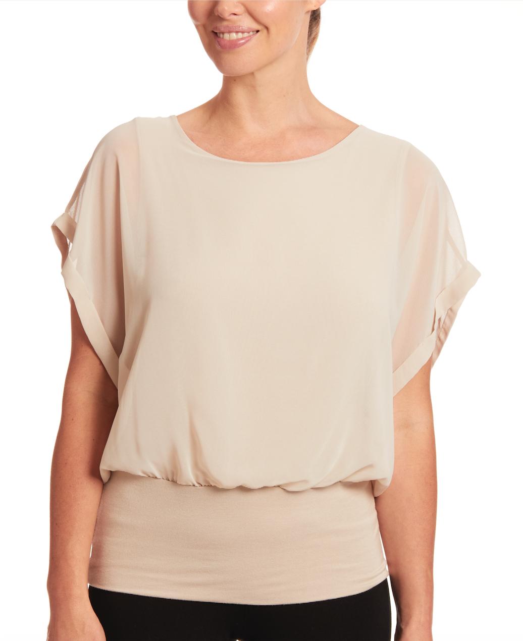 Dolman Short Sleeve Blouse in New Khaki