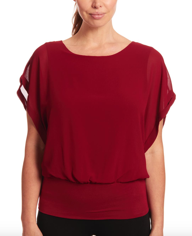 Dolman Short Sleeve Blouse in Deep Cranberry
