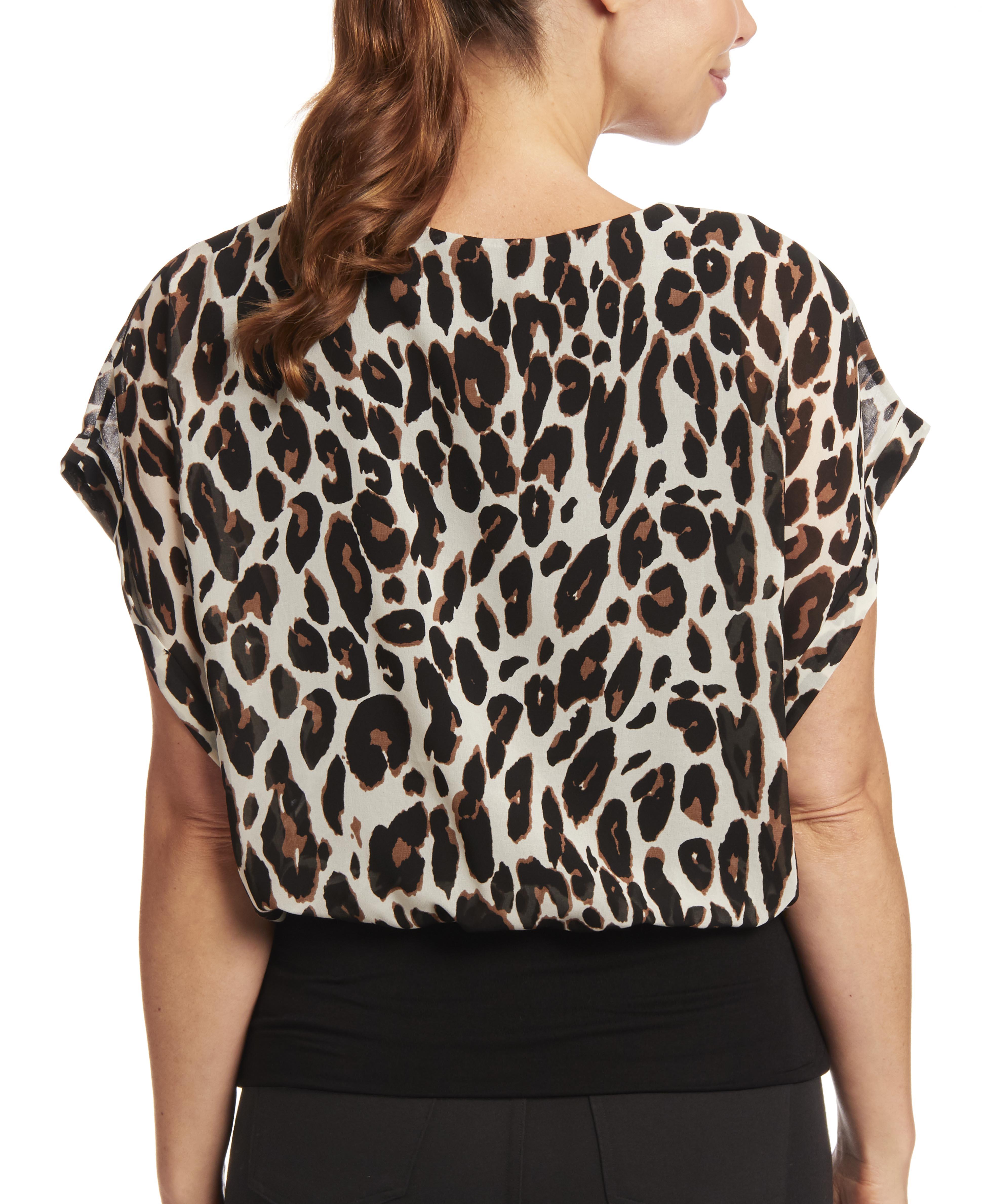 Dolman Sleeve Blouse in Velvet Leopard