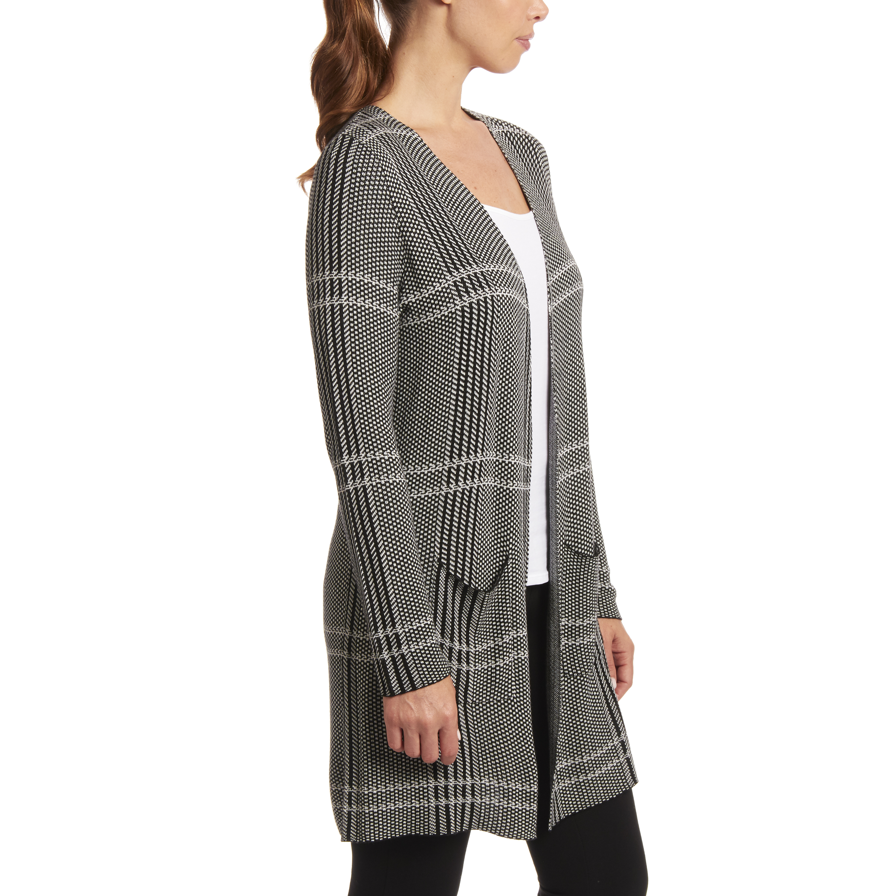 Black and Ivory Plaid Combo Cardigan
