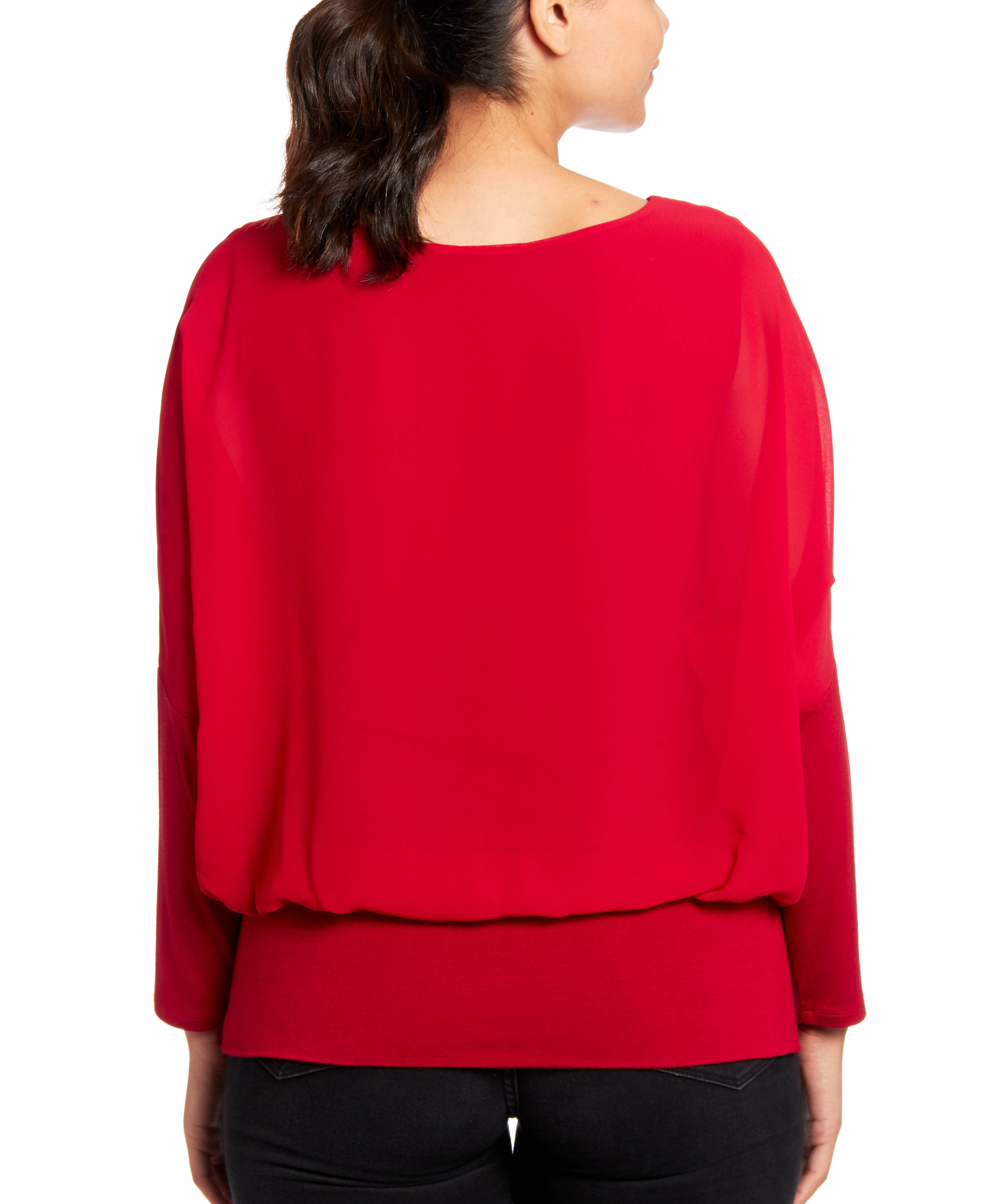 Dolman Long Sleeve Blouse in Rio Red