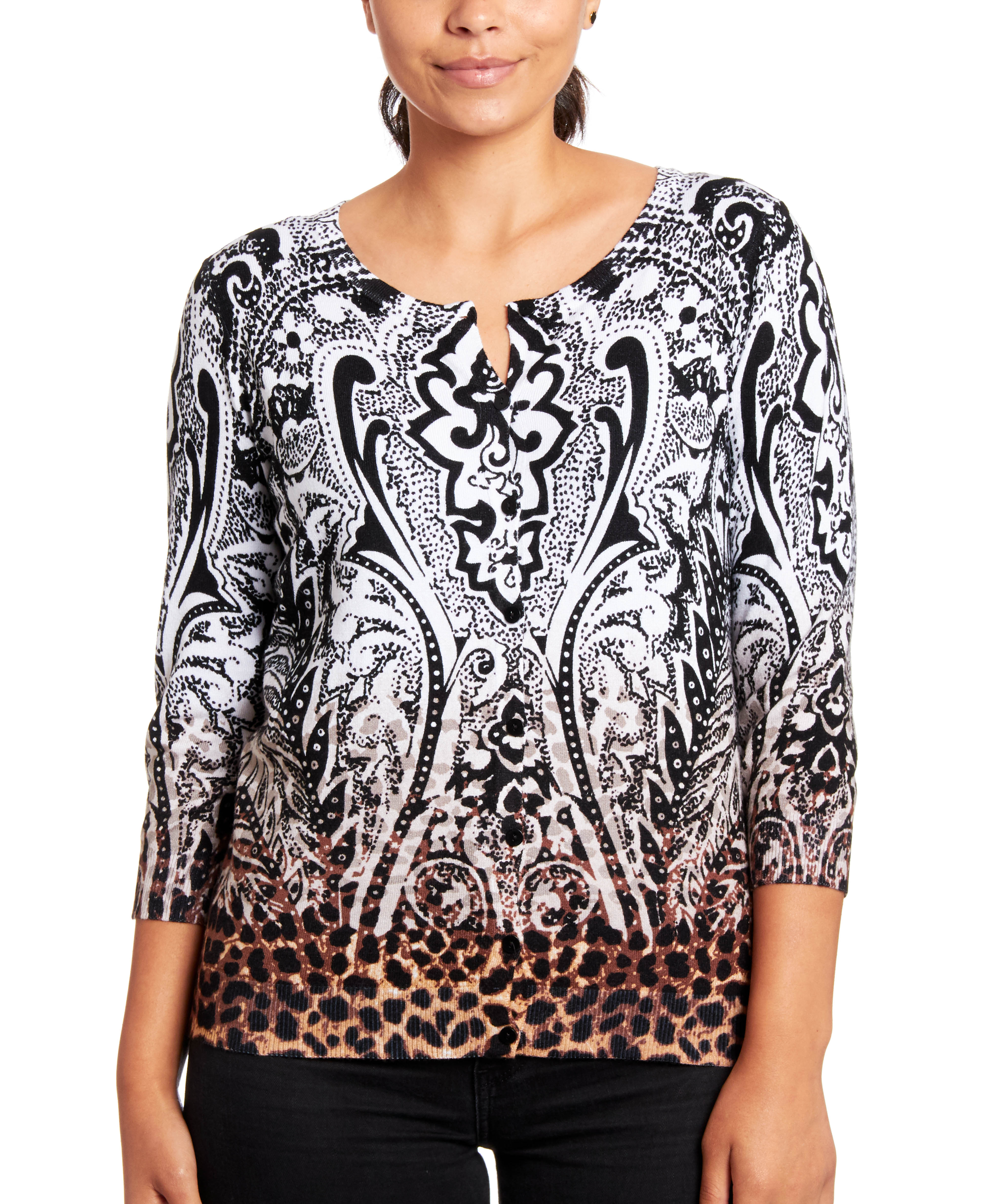 Classic Button-up Cardigan in Jungle Paisley