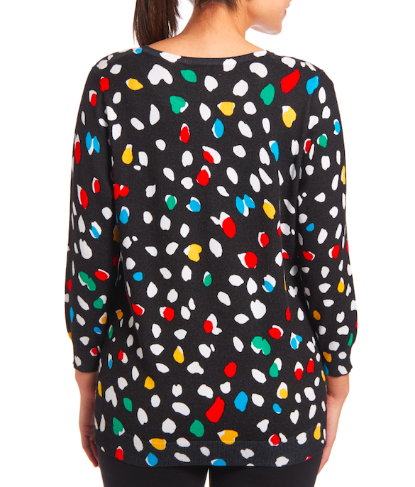Classic Button-up Cardigan in Artful Dots
