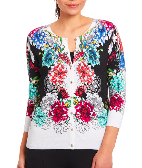 Classic Button-up Cardigan in Floral Border
