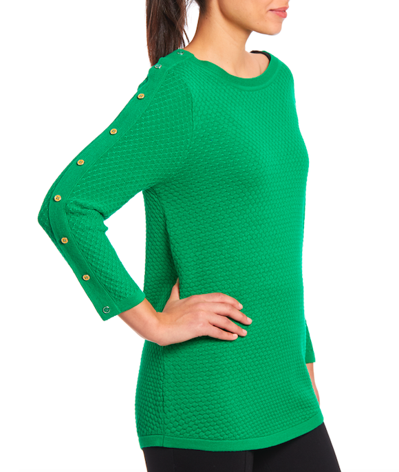 3/4 Sleeve Sweater in Jelly Bean