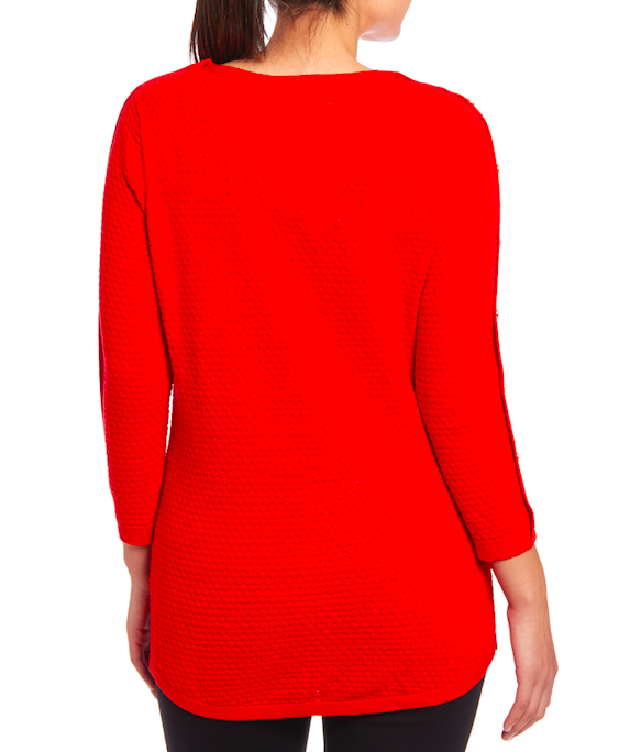 3/4 Sleeve Sweater in Poppy Red