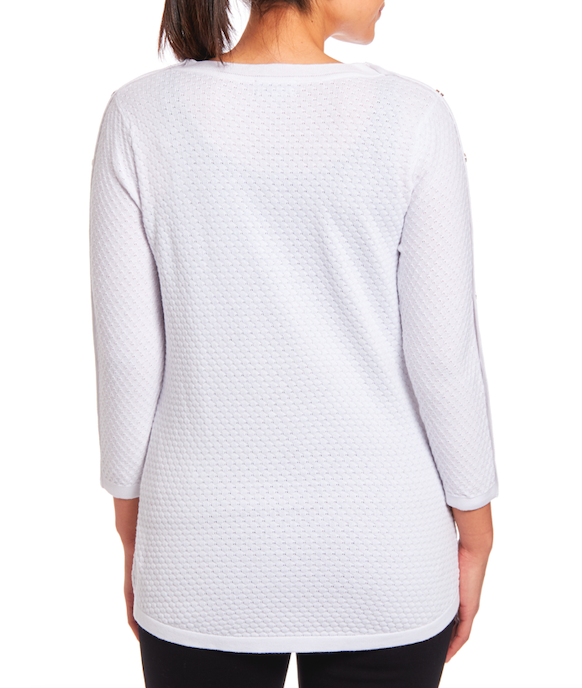 3/4 Sleeve Sweater in White