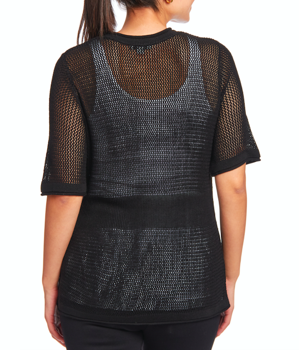 Open Stitch Short Sleeve Cardigan in Black