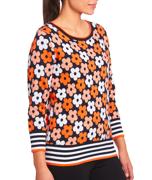 3/4 Sleeve Pullover in Orange Floral