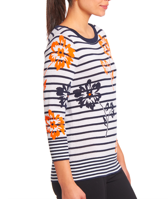 3/4 Sleeve Pullover in White Floral
