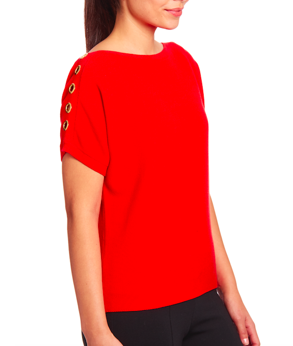 Knit Dolman With Grommet in Red