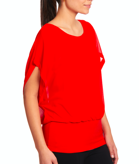 Dolman Short Sleeve Blouse in Poppy Red