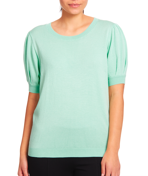 Shortsleeved Crewneck Pullover in Mint