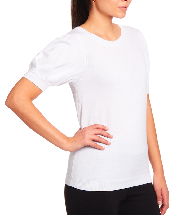 Shortsleeved Crewneck Pullover in White