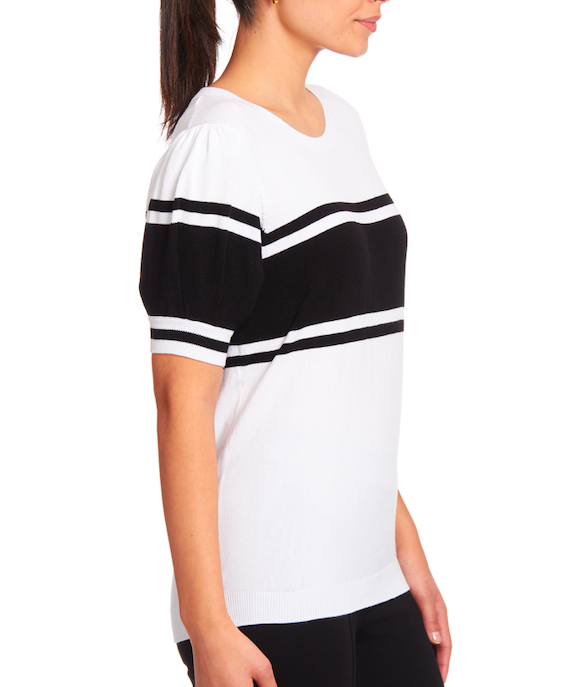 Shortsleeved Crewneck Pullover in White + Black