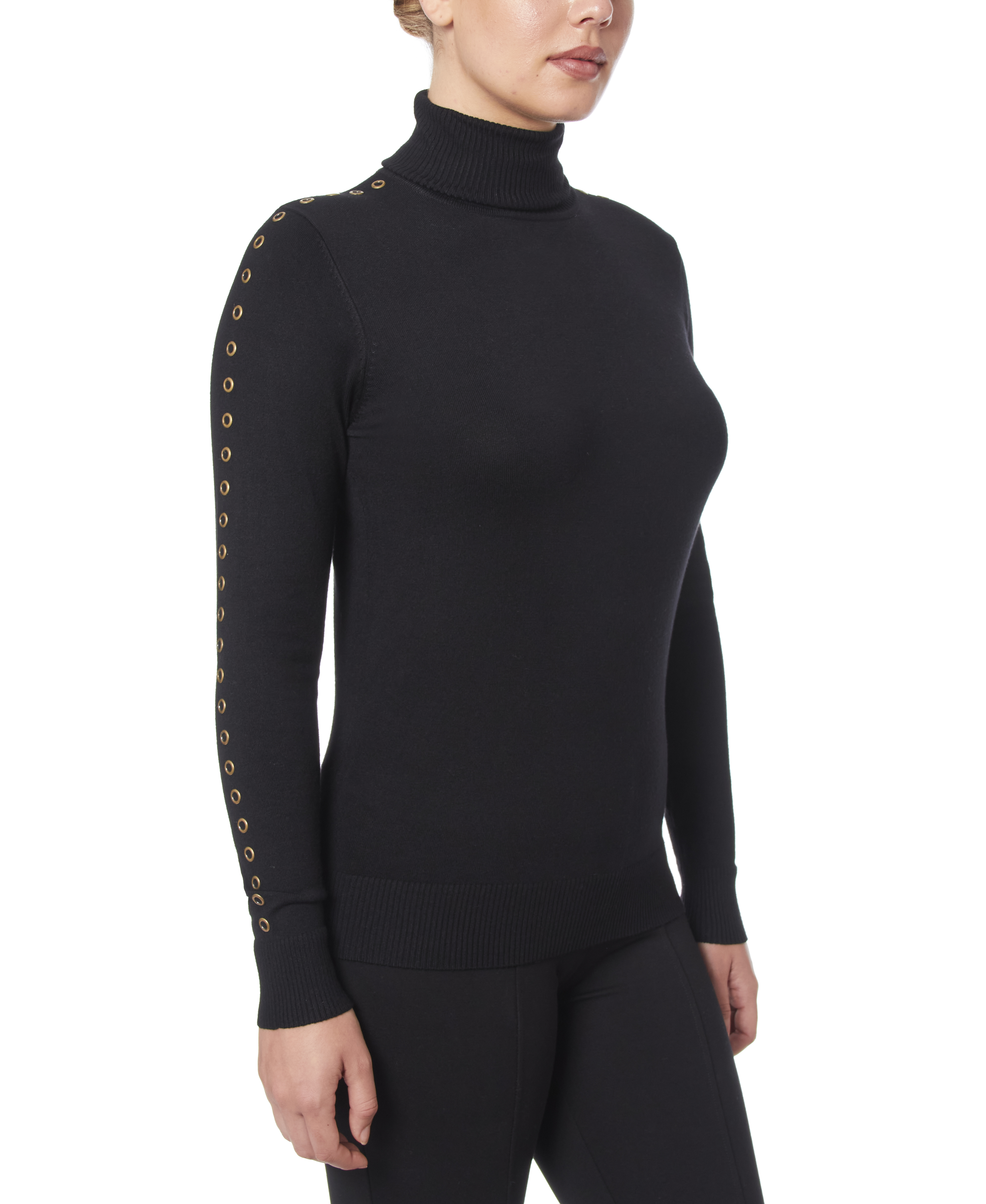 Solid Turtleneck with Detailed Sleeve in Black