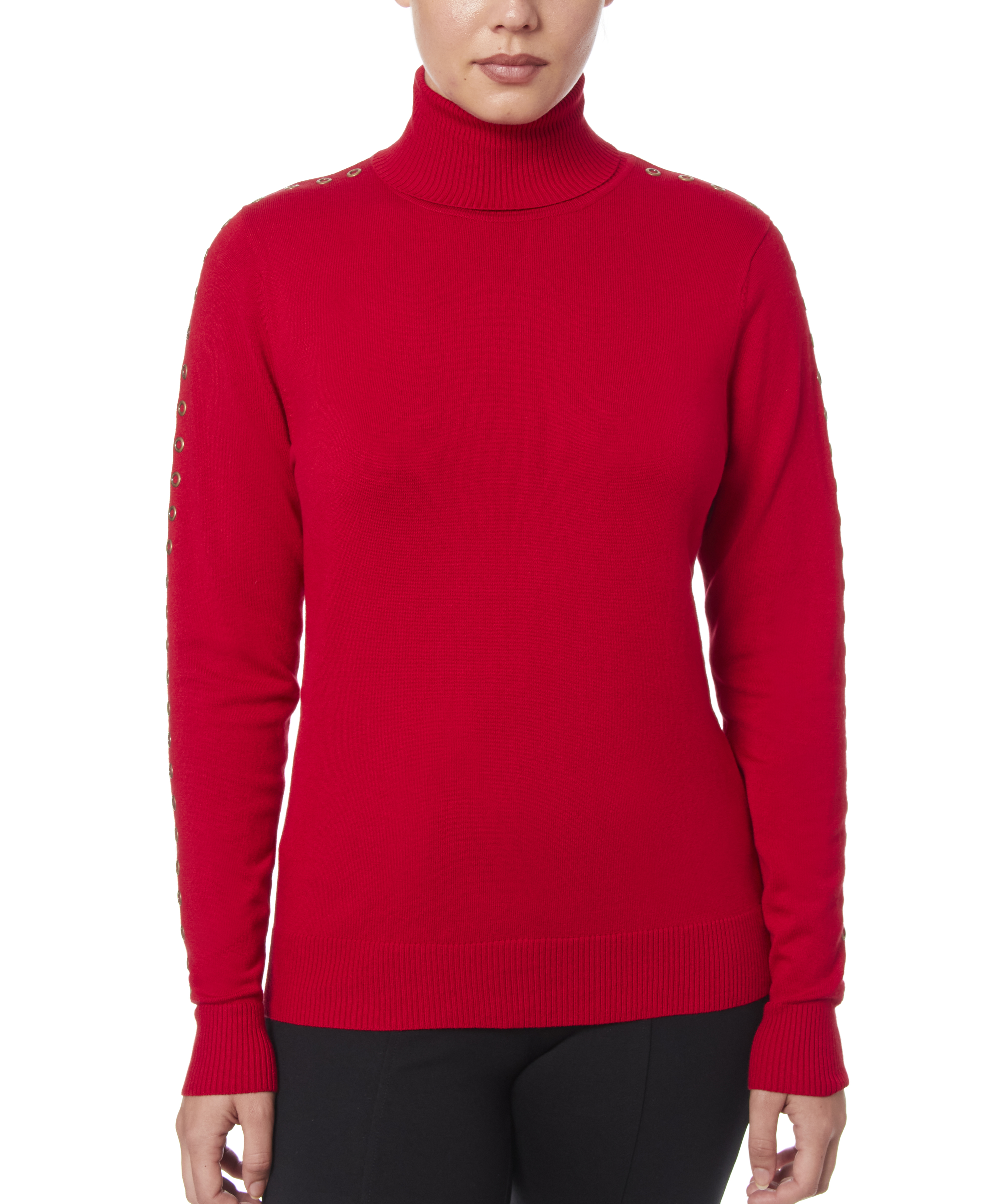 Solid Turtleneck with Detailed Sleeve in Scarlet