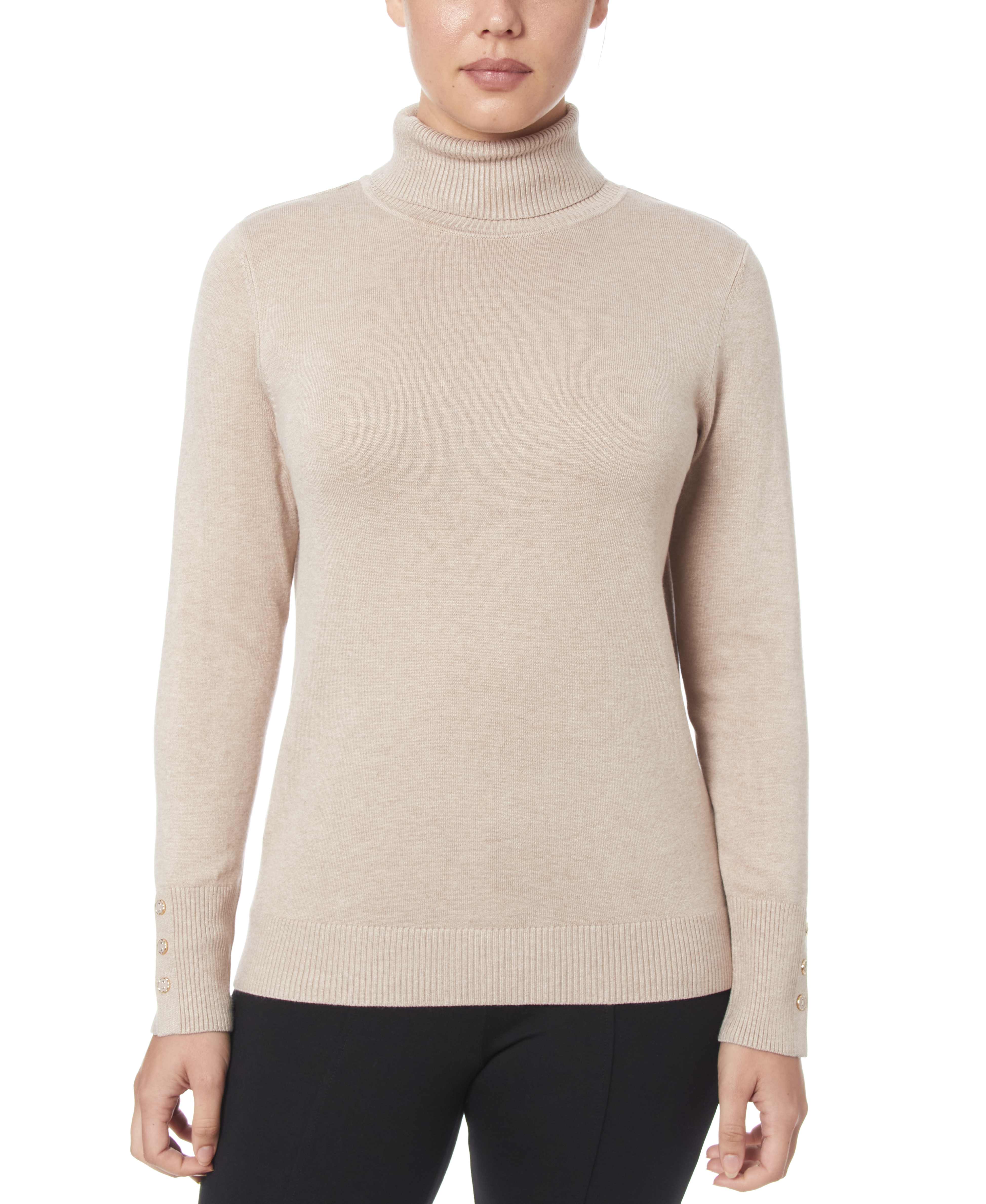 Solid Turtleneck with Button Cuff in Mocha Heather