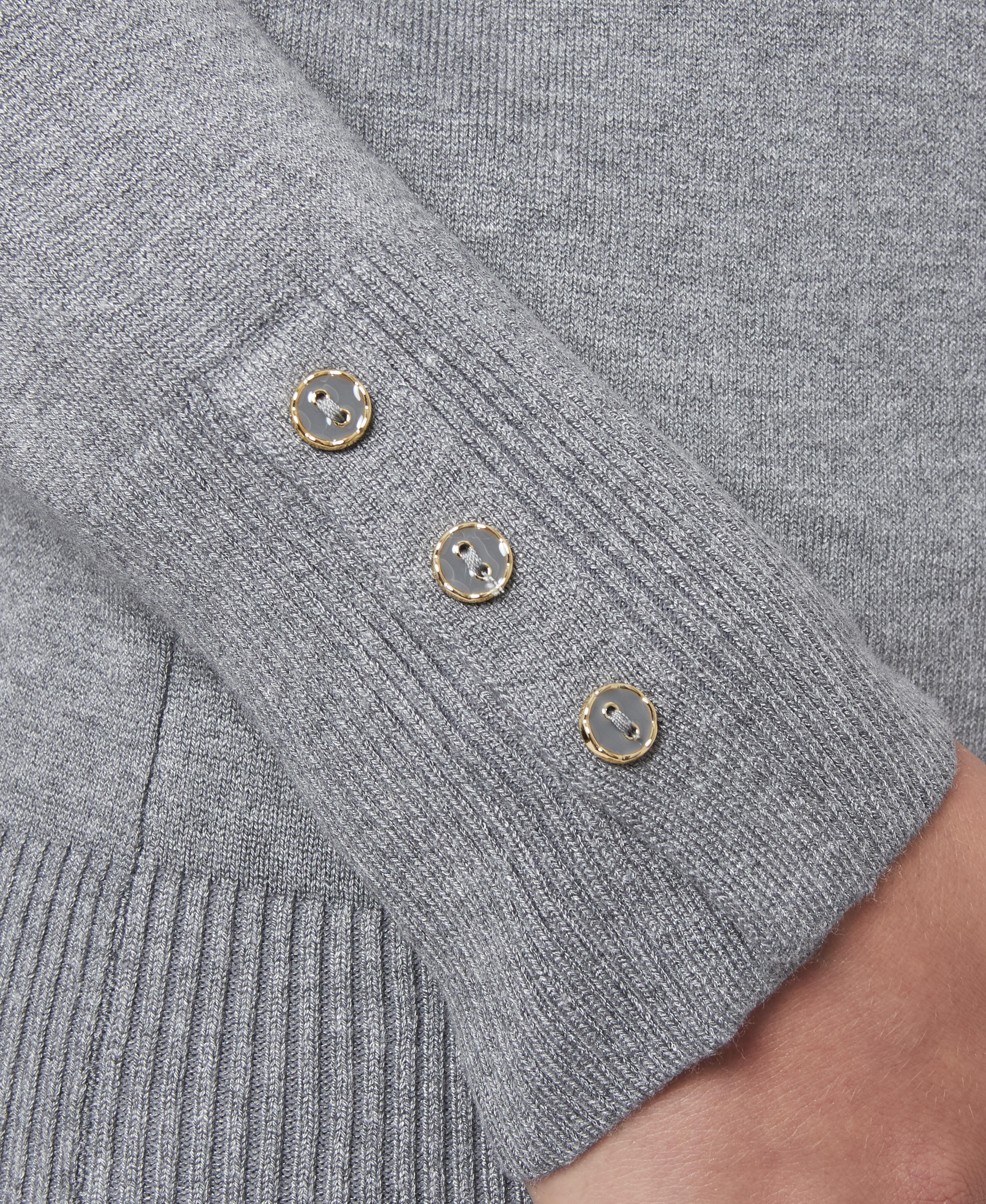 Solid Turtleneck with Button Cuff in Medium Heather Grey
