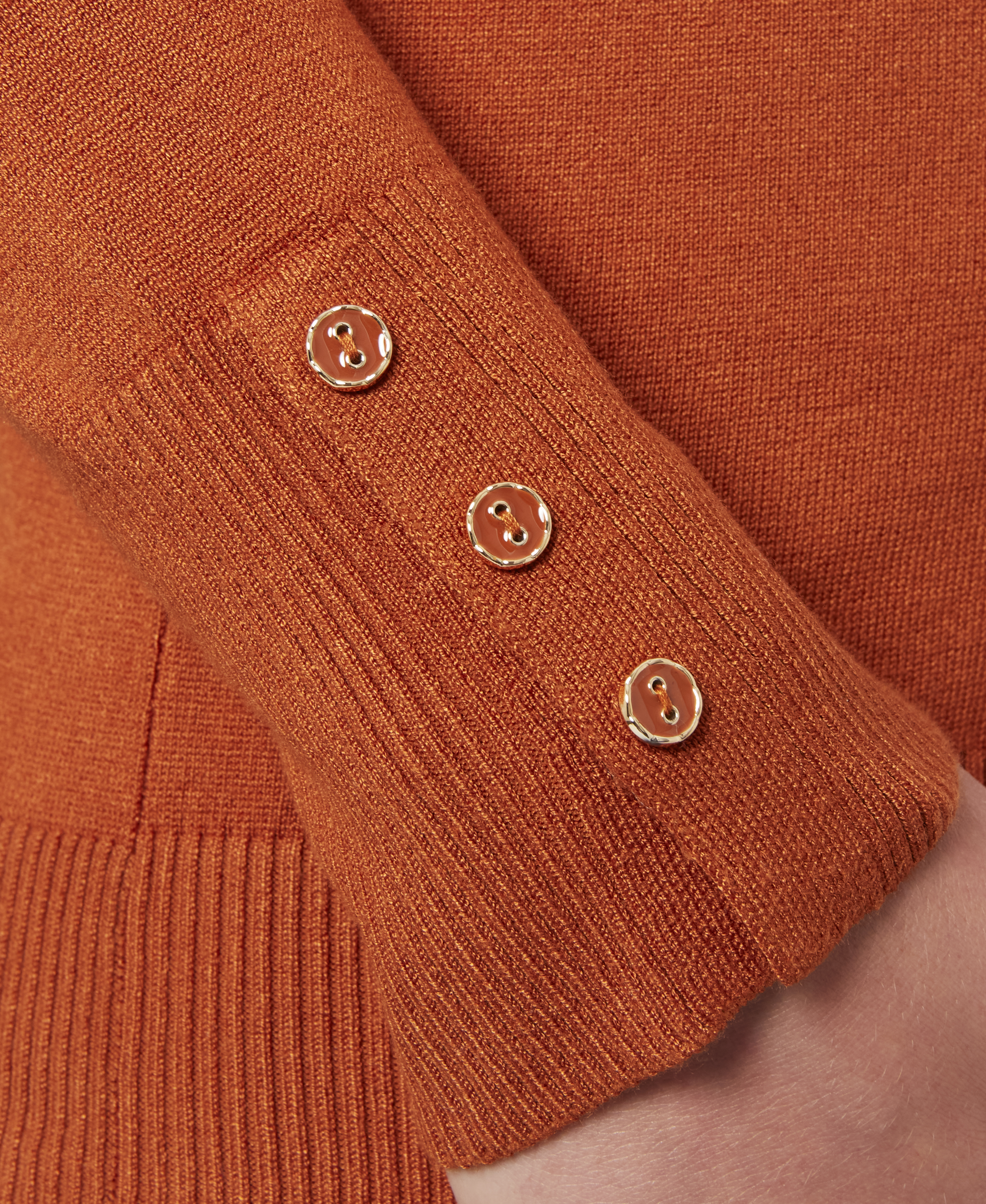 Solid Turtleneck with Button Cuff in Ginger