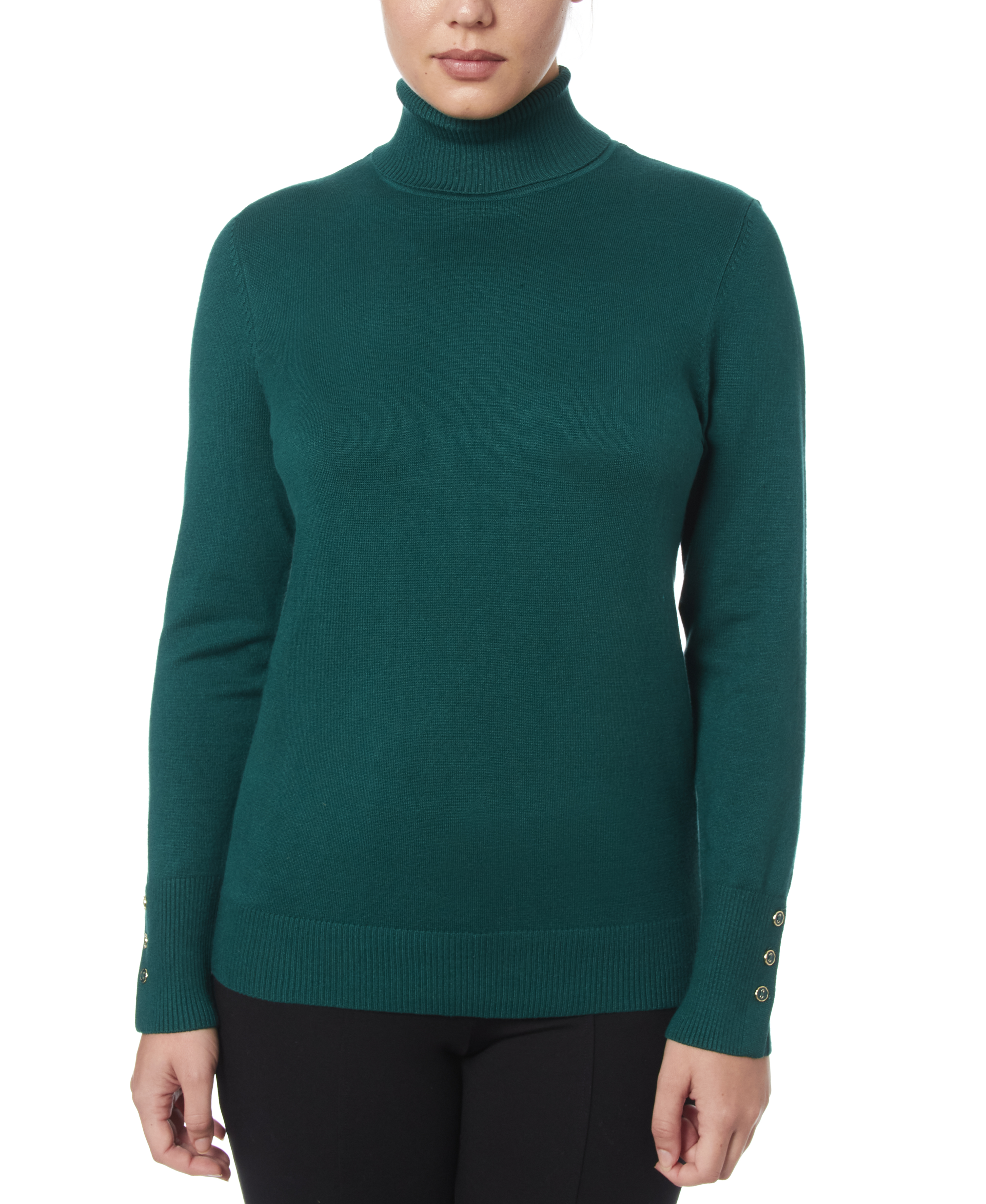 Solid Turtleneck with Button Cuff in Botanic