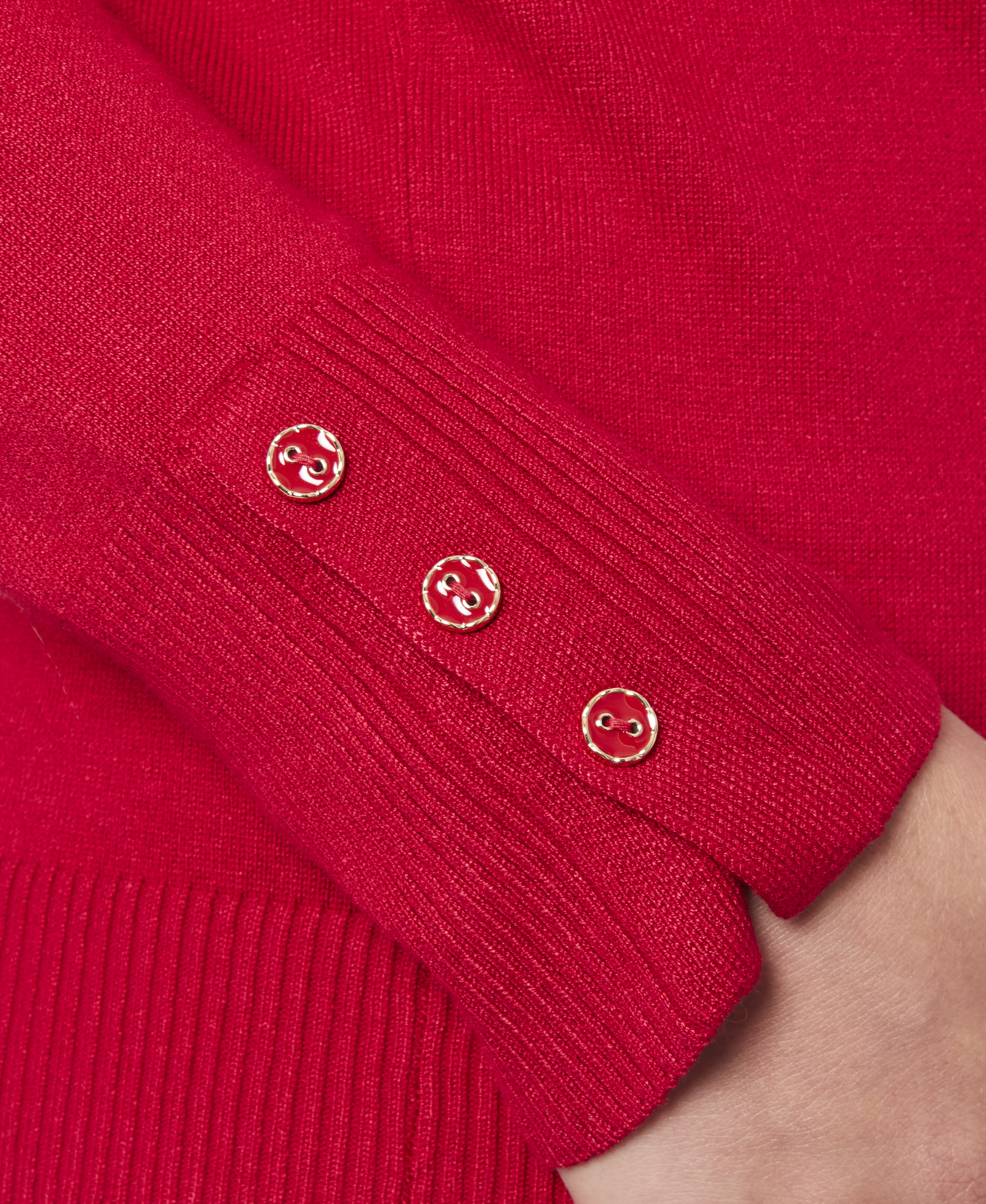 Solid Turtleneck with Button Cuff in Scarlet