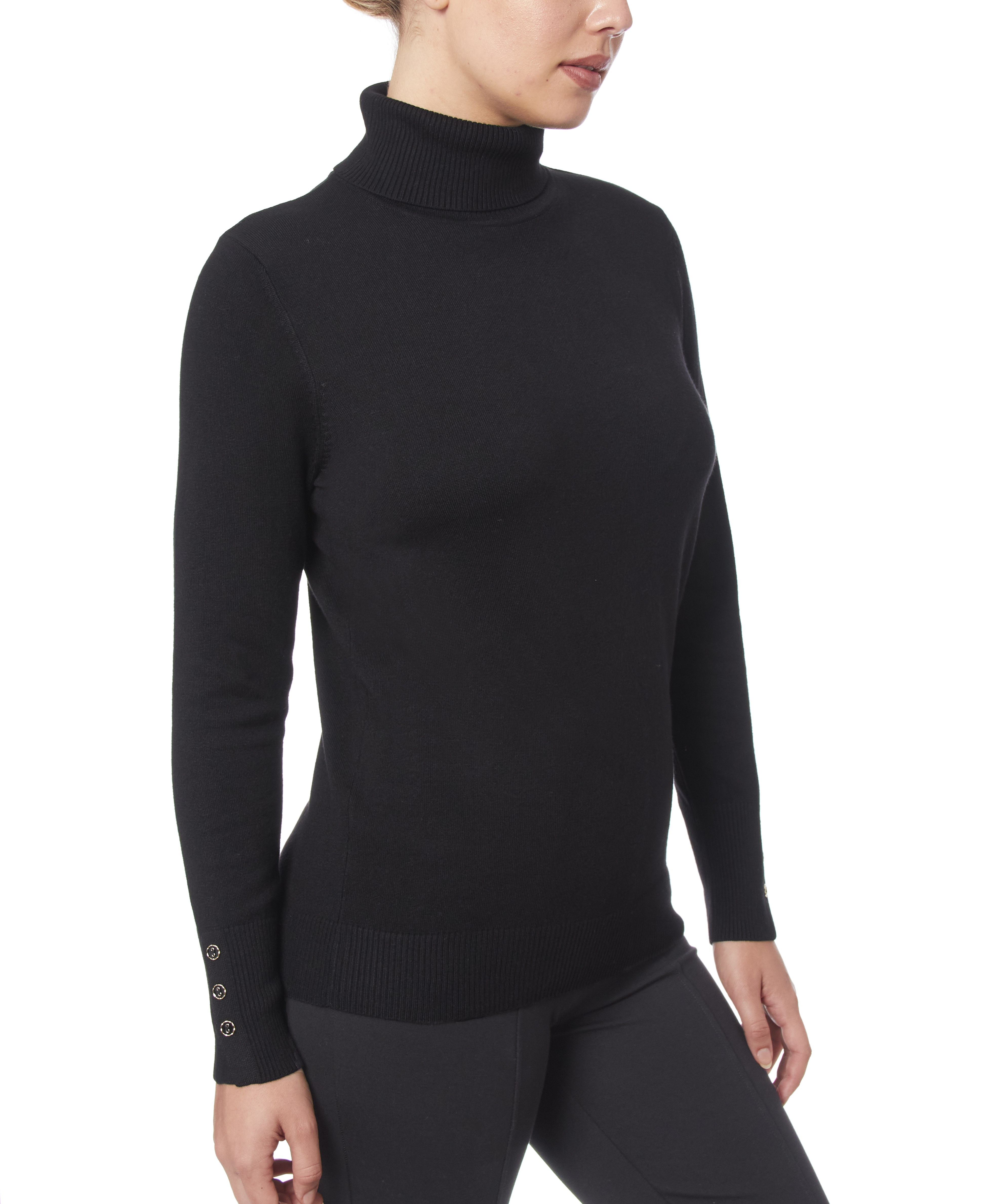 Solid Turtleneck with Button Cuff in Black